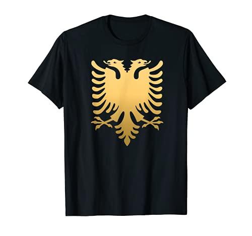 Goldene Albanische Flagge I Adler Flagge Albanien Geburtstag T-Shirt