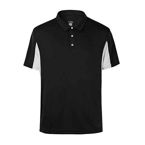 Corna Mens Big and Tall Plus Size Black Golf Shirt Fitness Dry Fit Sports Performance Golf Polo Shirts for Men Side Block Black-5XL