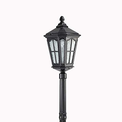 Europeo Retro Park buitenpark IP55 waterdicht glazen zuilenlamp weide lantaarn landschap palen hoge tuin patio E27 decoratie vloerlamp zwart (maat: 120cm)