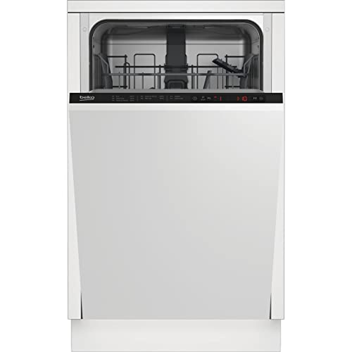 Beko Fully Integrated Slimline Dishwasher - Black Control Panel with Fixed Door Fixing Kit - E Rated