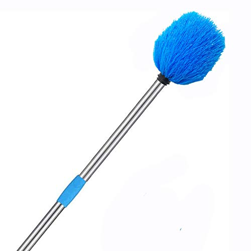 INFLATION Cobweb Duster - High Reach Cobweb Brush with Stainless Steel Adjustable Pole, Medium-Stiff Bristles Duster for House Indoor Outdoor Ceiling Cleaning (6FT)