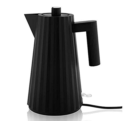 Alessi Plissè MDL06/1BUK - Bollitore Elettrico di Design in Resina Termoplastica, Presa Inglese, 100 cl, Nero