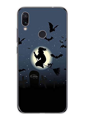 Oihxse Compatible pour Samsung Galaxy A6 Plus 2018 Coque Silicone Ultra Mince TPU Souple Transparent Housse Citrouille Mignon Motif Protection Etui Anti-Scratch Bumper Cristal Case (Sorcière)