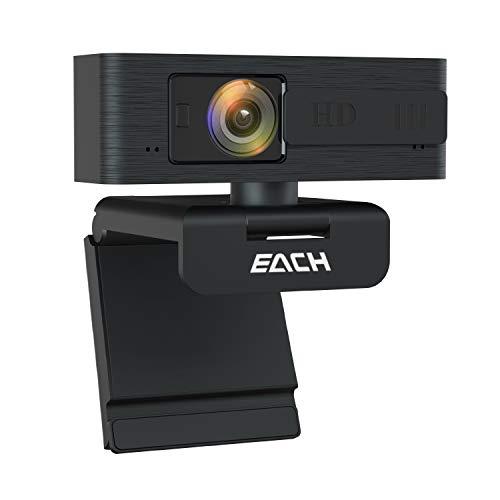 EACH Autofocus Webcam HD 1080P Webcam CA603 USB Kamera mit Webcam Abdeckung USB Webcam für Skype, FaceTime, Hangouts, WebEx, PC/Mac/Laptop/Macbook/Tablet