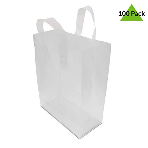 8x4x10' 100 Pcs. Frosted Clear Plastic Bags with Handles, Shopping Bags, Gift Bags, Take Out Bags with Cardboard Bottom