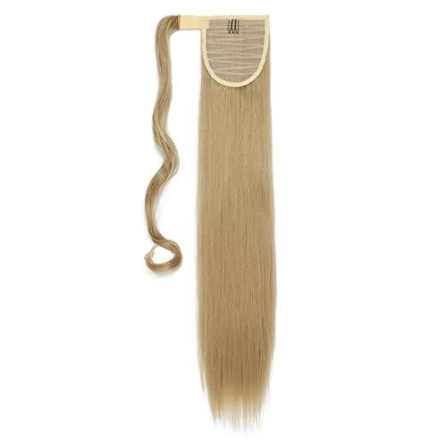 S-noilite Haarteil Zopf Pferdeschwanz Glatt Haarverlängerung Natürlich Wrap on Ponytail Wie Echthaar Hairpiece 66cm Lang Aschblond