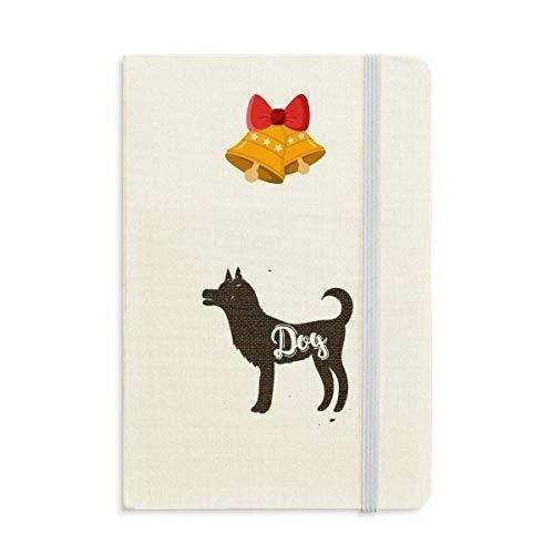 Perro blanco y negro animal cuaderno diario con jingling Bell