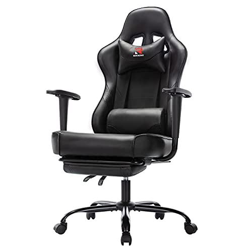 Rimiking Massage Gaming Chair with Footrest Ergonomic Swivel Computer Chair with Adjustable Headrest and Lumbar Support, High Back Desk Chair Black 3609