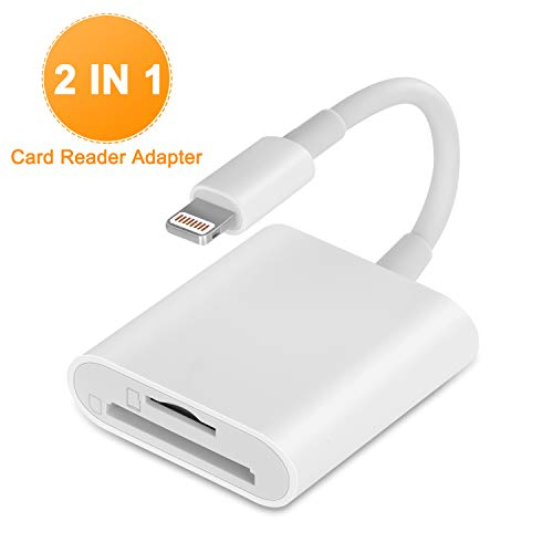 VELLEE SD Card Reader for iPhone iPad, TF & SD Memory Card Reader Adapter, 2 in 1 Dual Slot Card Reader Trail Game Camera Viewer (Support iOS 9.2-13 or later) Photos & Videos Transfer - No App (White)