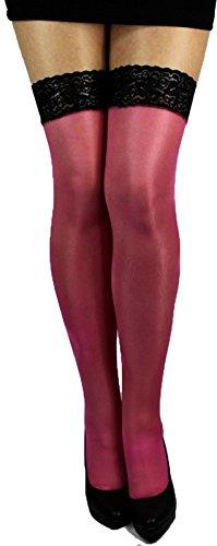 Unbekannt Lycra Plus Big Size glänzende halterlose Strümpfe Spitze 40 den (XL-XXL (5/6), pink rosa)