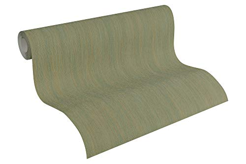 A.S. Création Vliestapete Sumatra Tapete Uni 10,05 m x 0,53 m grün metallic Made in Germany 328821 32882-1