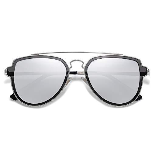 SojoS Gafas De Sol Hombres Mujeres Unisex Aviador Clásico Doble Puente SJ1051 Marco Plateado/Lentes Plateadas Espejo