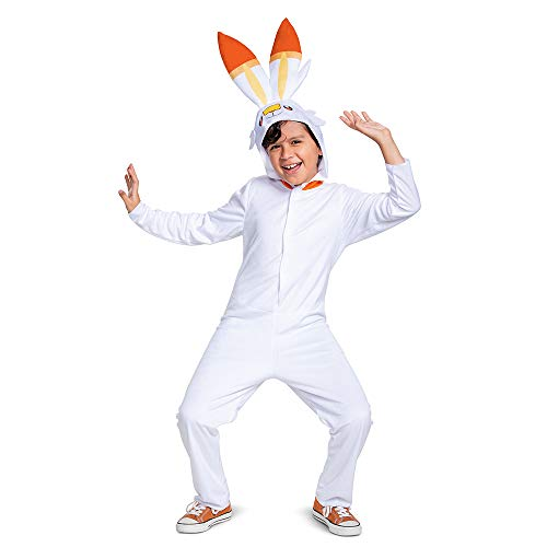 Scorbunny Pokemon Kids Costume, Official Pokemon Hooded Jumpsuit with Ears, Classic Size Medium (7-8)