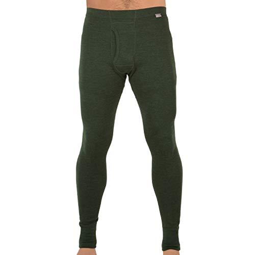 MERIWOOL Mens Base Layer 100% Merino Wool Thermal Pants Army Green
