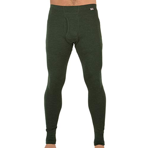 MERIWOOL Mens Base Layer 100% Merino Wool Thermal Pants Army Green