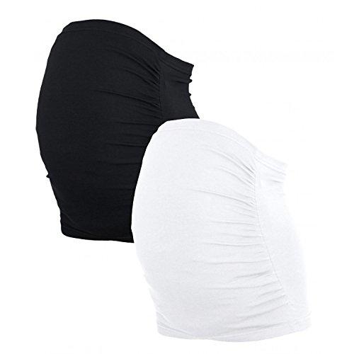 Alkato Damen Schwangerschaft Bauchband 2er Pack, Farbe: Schwarz/Weiß, Größe: XXL