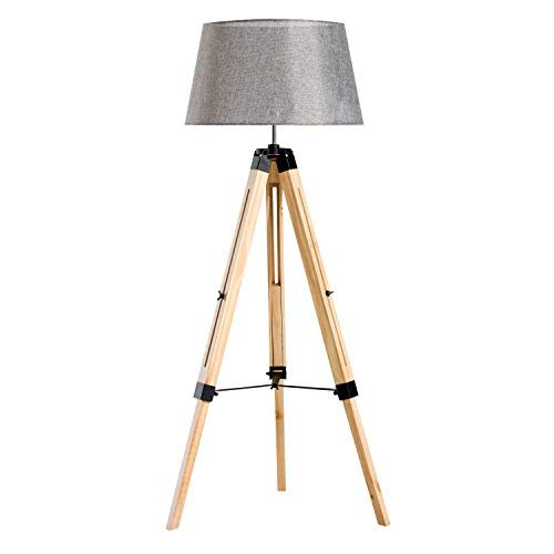 HOMCOM Tripod Floor Lamp Wooden Adjustable Modern Illumination Design E27 Bulb Compatible (Grey Shade) 99-143H