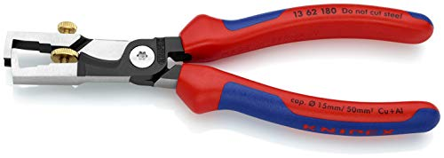 KNIPEX 13 62 180 StriX Abisolierzange mit Kabelschere schwarz atramentiert mit Mehrkomponenten-Hüllen 180 mm