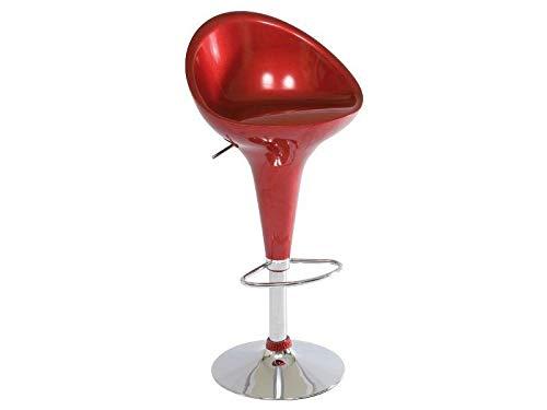 Jadella Barhocker Stuhl Drehstuhl Hochglanz Schwarz Chair Hocker Chrom Rot Retro, Farbe:Rot