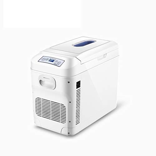 Fridge- ZGM Refrigerador del automóvil Que calienta la Caja de refrigeración Horizontal/Vertical de Doble Uso 12V220V Mini Nevera pequeña casa pequeña con polea, para Picnic de Viaje, Blanco