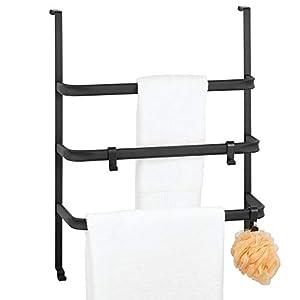 mDesign Toallero para puertas sin taladro – Portatoallas de metal para colgar en la puerta del baño o en la cabina de ducha – Práctico colgador de toallas con 3 barras y ganchos – negro mate
