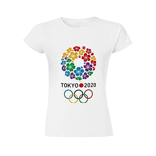 tシャツ,東京2020オリンピック レディース 綿100% ラウンドネック大きいサイズ 半袖 おもしろtシャツ ビーフィー スポーツ tシャツ 着脱が簡単white-style1 L