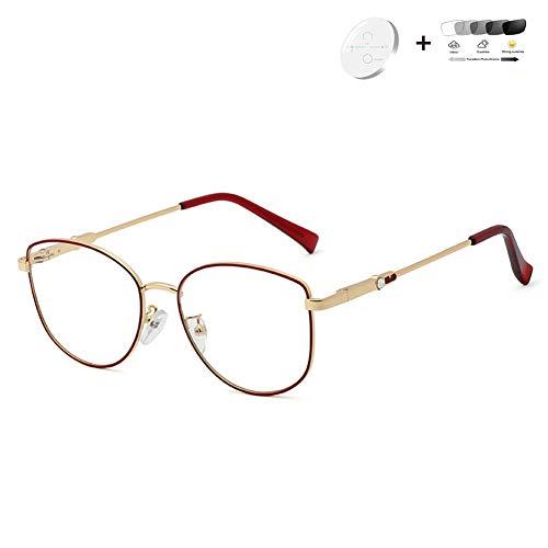 HQMGLASSES 2020 Damen photochromen presbyopic Sonnenbrille, HD Progressive multifokale Linse / UV400 Außenbrille Dioptrien +1,0-+3,0,05,+3.0