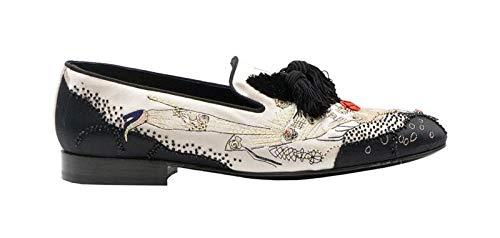 Louis Leeman Mens Beige/Black Satin Slip On with Girl Design Size 48