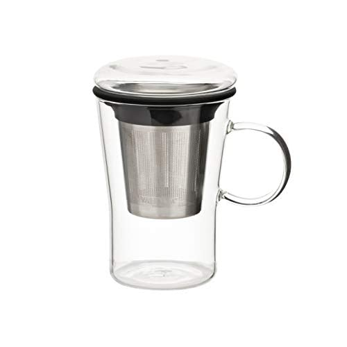 VAHDAM, Teiera con infusore vetro - 500 ml   Teiera vetro Infusore per tè sfuso   Stepper di tè sfuso   Teiera con Tazza   Tazza per infusore per il tè   Tazza Teiera   Teiera con tazza Incorporata