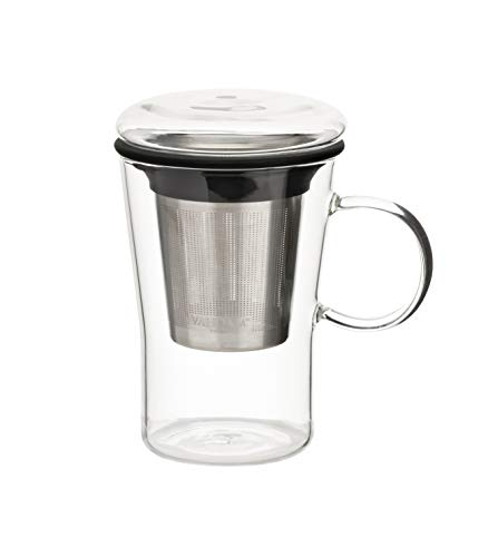 VAHDAM, Sparkle-Glass Tea Cup with Infuser | 16 oz | Loose Leaf Tea Infuser | Tea Steeper | Tea Mug with Lid | Tea Infuser Mug | Tea Cup with Lid | Scratch Resistant, Microwave Safe