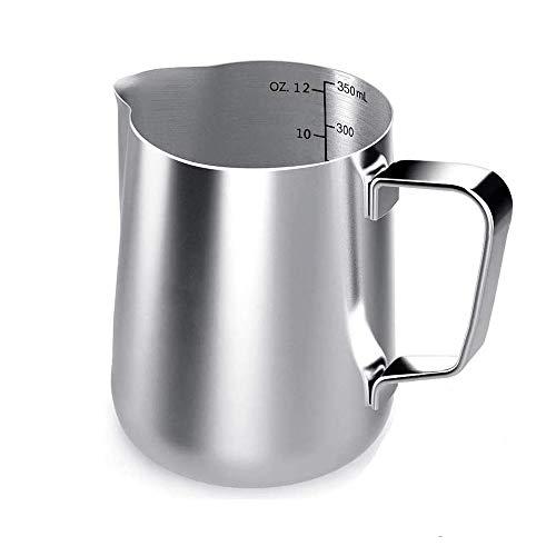 jiyuan Jarra para Leche de 350 ml, Jarra de Espuma de Leche, Jarra para Leche de Acero Inoxidable, para Hacer Café Latte, Capuchino y Leche Medida