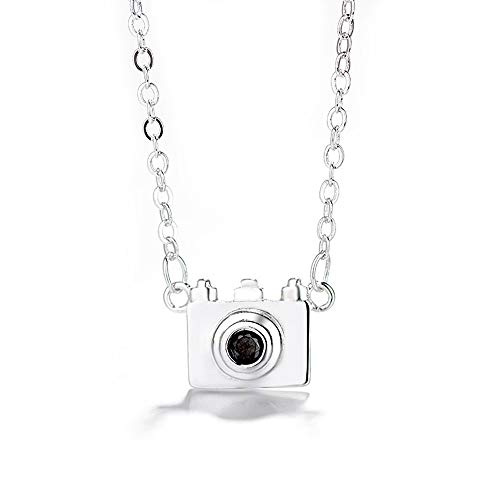 Camera Pendant Necklace for Women Chain Cute Personality Punk Silver Plated Photography Lover Videographer 3D Charm Dainty Chunky Choker Meaningful Birthday Holiday for Best Friends Teens Girls