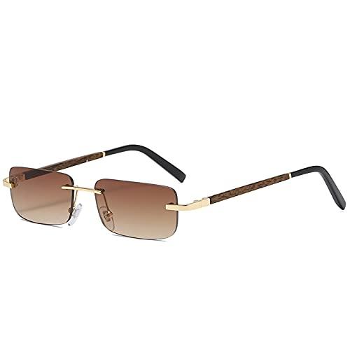 Gafas de Sol sin Montura de Madera Mujeres Hombres Gafas de Sol de Madera rectangulares Vintage Gafas de conducción UV400 Sin Marco Gradiente Cuadrado Sombras marrón