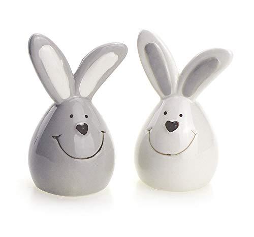 TEMPELWELT 2X Deko Figur Hase Osterhase Ei im Set je 8 cm, Keramik grau weiß Landhausstil, Dekofigur Frühling Ostern Osterdeko Keramikhase