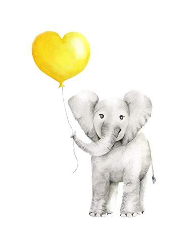 Elephant Nursery Art, Yellow Heart Balloon, Baby Nursery Decor, Various Sizes Available, UNFRAMED PRINT