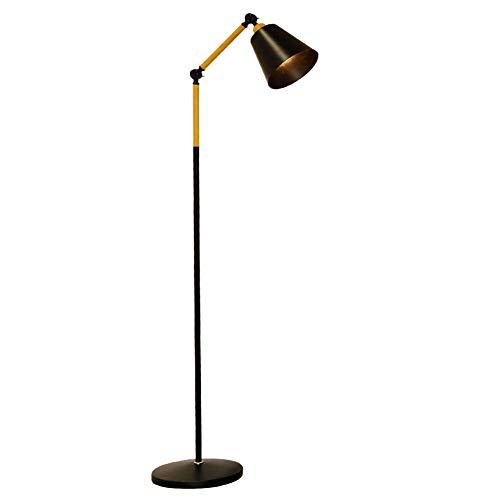 lampadaire Lampe de sol moderne Vertical Floor Light Linen couverture bois brut/fer pour salon chambre étude
