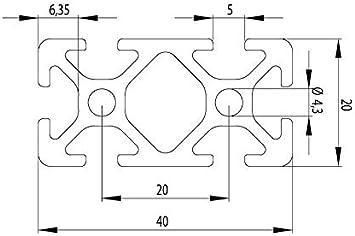 Profilo Alluminio 20x40 Tipo Noce 5 Taglio 50-1190mm 9,50 Eur // M,Mente 1