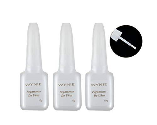 10g 3pcs Pegamento de Uñas Postizas Adhesivo fuerte para Tips Foil Nail Acrilicas Gemas de secado rápido color Transparente