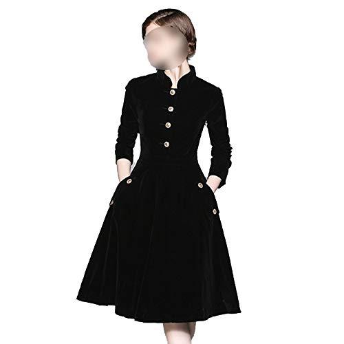 Vestido Más El Tamaño De Vestido De Las Mujeres 3XL Invierno Vestidos De Terciopelo Zomerjurken 2021 Damas De Manga Larga Negro Oficina Retro Vestido De Fiesta K8858