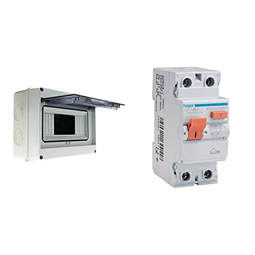 BeMatik.com Caja De Distribución Eléctrica SPN 8M Ip65 De Superficie De Plástico Abs HT + Hager Cd748V Interruptor Diferencial Tipo AC, 2P, 40A