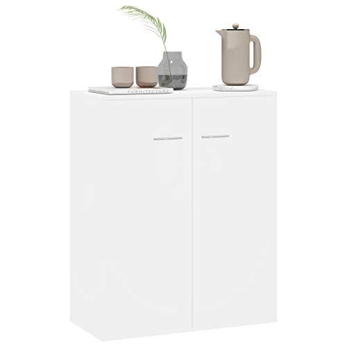 Tidyard Küchenschrank Sideboard Hochglanz-Weiß Esszimmerschrank Beistellschrank Seitenschrank, mit 2 Großen Fächern, Stilvoll Modern, 60×30×75 cm