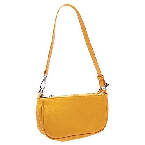 POHOVE Klassische Clutch-Schultertasche, Retro-Schultertasche, Schultertasche, Handtasche, PU-Leder, Unterarmtaschen, Baguette-Tasche, Krokodil-Muster, Handtasche für Damen