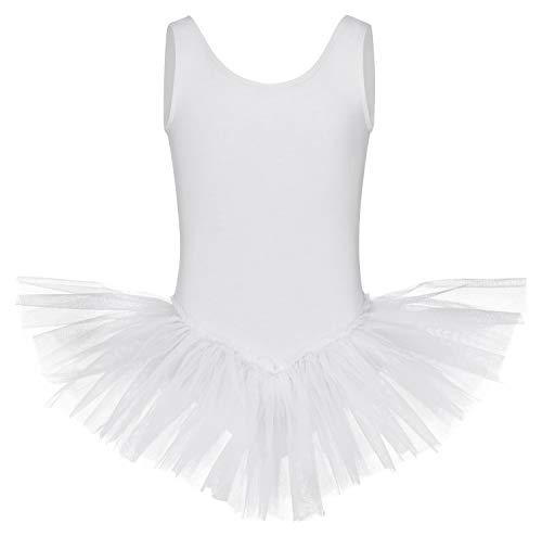 tanzmuster ® Ballettkleid Mädchen Tutu - Anabelle - aus weichem Baumwollmaterial Ballett Trikot mit Tuturock in weiß, Größe:92/98
