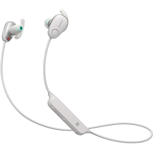 Sony WI-SP600N Premium Waterproof Bluetooth Wireless Extra Bass Sports in-Ear 6 Hr of Playback Headphones/Microphone (White)