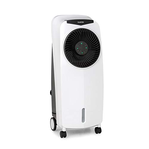 Klarstein Rotator Luftkühler 4-in-1-Gerät, 3 Windgeschwindigkeiten, 4-in-1-Gerät: Luftkühler, Ventilator, TACT-Ionisator und Luftbefeuchter, Cool Breeze, 8h-Timer, 110 Watt, pianoschwarz