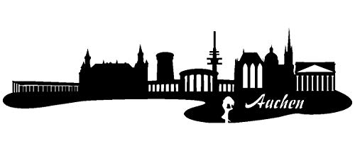 Samunshi® Autoaufkleber Aachen Aufkleber Skyline in 7 Größen und 25 Farben (120x32cm schwarz)