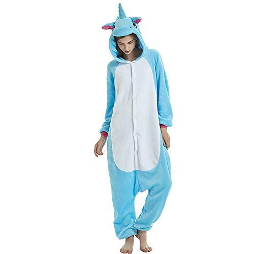 Pigiama Donna Uomo Unicorno Costume Pigiama Carnevale Halloween Cosplay Party Animali Cartoon Regalo di Adulto Compleanno (Large, Blue)