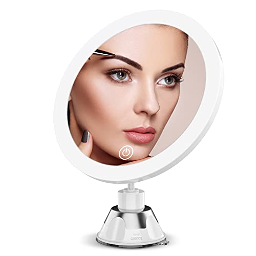 Lighted Magnifying Mirror with Lights,5X Makeup Mirror with Suction Cup and Magnification, Dual Power Supply,360 Degree Rotation, Dimmable Touch Screen, for Bathroom and Travel, Great Women Gift