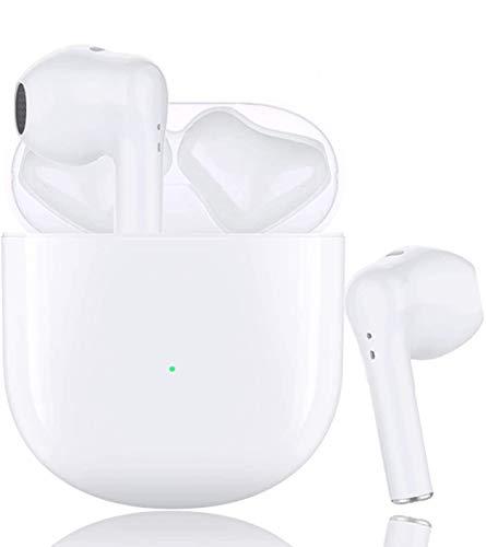 Auriculares Bluetooth inalámbricos con Bluetooth 5.0 de emparejamiento automático, auriculares con reducción de ruido en la oreja, con funda de cargador, llamadas manos libres