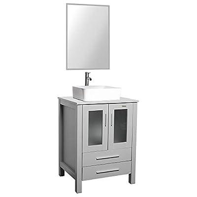 24 Grey Bathroom Vanity,Square Ceramic Sink Combo 1.5 GPM Chrom,Bathroom Vanity Top with Sink Bowl,20 inch Deep, 30% Water Saving Faucet/U-Eway (B02GT03)